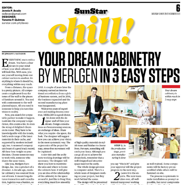 Merlgen Cabinetry Featured in SunStar